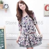 Free shipping plus size flowers women's  dress ,ladies'dress 3 colour size XL,2XL,3XL,4XL