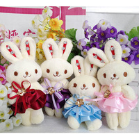 Freeshipping wholesale 8color diamond rabbit cartoon bouquet doll plush toy accessories dolls christmas gift gifts,PT3001