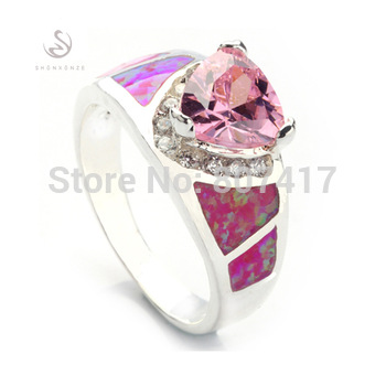 Pink Cubic Zirconia with Pink opal (purple) 925 silver ring R341 size#6 7 8 9 10