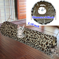 Cat Tunnel Leopard Print Crinkly Cat Fun Long Tunnel Kitten Play Toy Collapsible
