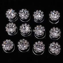 Wholesale 12pcs Lot Crystal Rhinestone Pearl Flower Hair Twists Spirals Pins Women Wedding Jewelry Accessories Free