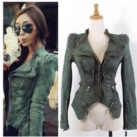 2014 New fashion jackets Star jeans women Punk spike studded shrug shoulder Denim cropped VINTAGE jacket coat S M L XL