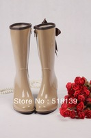 2013 Wedge Heel Women & Ladies' Rain Boots with Leopard Pattern Black and Beige Knee High BowKnot Rain Boots New fashion