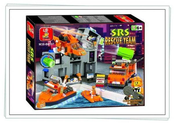 Sluban SRS DIY Rescure Team Command Center Children's Educational Building Blocks Toy Set B0107, 692pcs/set, Free Shipping(China (Mainland))