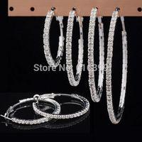 2 Colors 30/40/50/60/70mm Crystal Rhinestone Large Big Hoop Earrings CZ Hoop Earrings