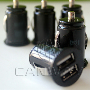 50 pcs/lot Mini Dual USB Ports Auto Power Jolt Car Charger Adaptor for New Apple iPad 3 2 iPhone 4S 4G iPod, Free Shipping