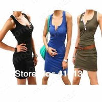 New Fashion 2013 Women's Casual Slim Free Size Sleeveless Mini Dress Nightclub Sexy Dresses E0689