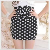 New 2014 Sexy Slim Fit Bow Polka Dot High Waist Black Pencil Fashion Female Evening Bust skirts Close-fitting Short skirt