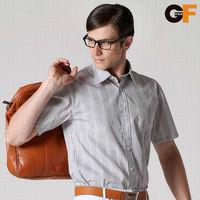 Freeshipping spring autumn white black gray striped man male men's casual short sleeve slim fit cotton shirt shirts FZ-MDX602
