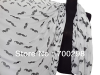 100pcs/lot Fashion Women's Moustache Print Scarf Hijab Shawl Muslim Wrap Voile Accessories , Free Shipping