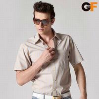 Freeshipping summer spring autumn blue coffee striped man male men's casual slim short sleeve 100% cotton shirt shirts FZ-MDX605