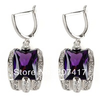 Amethyst Cubic Zirconia  trendy fashion 925 Silver Cubic Zirconia  Earrings R456