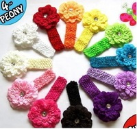 Hair accessory 13pcs/lot 13Colors Infant baby Kids girls gerbera Peony clip flowers with crochet headband hair accessories