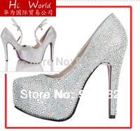 Free shipping prom heels 2014 wedding shoes women high heels crystal high heel shoes platforms silver rhinestone pumps