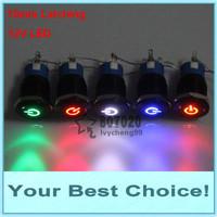 50pcs/Lot 19mm 12V LED Illuminated Car/Automotive ENGINE START/POWER START LATCHING Black Metal Push Button Switch,POWER SYMBOL
