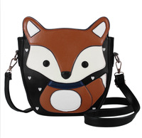 New 2014 Lovely Cartoon Fox Women Messenger Bags Top Quality Sweet Women Leather Handbags Campus Trendy Women Bag