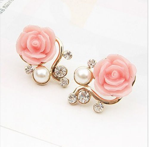 2013 New Fashion 18K Gold Plated Cute Sweet Rose Shaped Artificial Pearl and Diamond Stud Earrings for Women Ladies Girls Pink(China (Mainland))