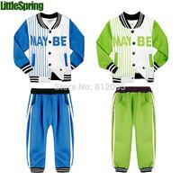 Retail Maybe letter children's clothing sets sports suit long sleeve coat+pants kids jackets LittleSpring GLZ-T0318 XLS