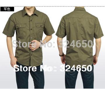 New brand Army Green th khaki Military Short sleeve Shirt Men Casual Cotton Plus size clothing(China (Mainland))