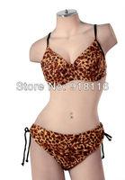 2 Style Women Girl Hot Leopard Swimwear Triangle Lace Striped Top BIKINI Low Rise Bottom Beachwear Swimsuit(2602-1044,2693-1044)
