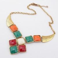 Hot Horn Resin Geometric Gem Ethnic Vintage Gold Collar Choker Statement Necklaces & Pendants 2014 New Fashion Jewelry Women N56