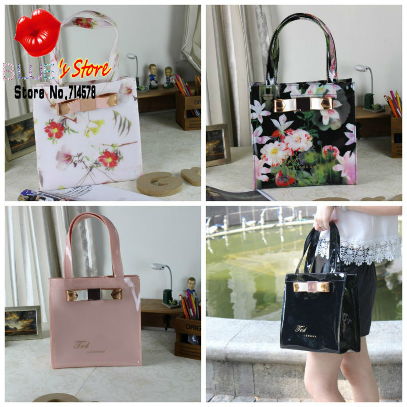 FREE SHIPPING sweet pink ted butterfly handbags brand designer pvc shopping bag floral tote bags black candy jelly bag M size(China (Mainland))