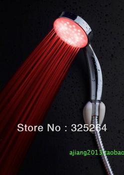 Promotion deal LED faucet shower light single color water flow power Bathroom shower retailsale freeshipping