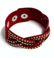 Wholesale Price Fashion Korean Jewelry Unique Small Rivet Bracelets Weave Leather Bracelet For Women  AB128