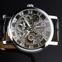Winner brand Mens Black Hand Wind Skeleton Sports Men Mechanical Watch Casual Men Military Army wristwatch Black Leather Strap