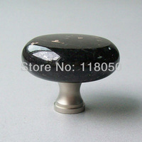 Discount Stone Cabinet Knob Cupboard Knobs,45mm Kitchen Furniture Hardware,Black Galaxy Granite Brass Base,Satin Nickel Finish