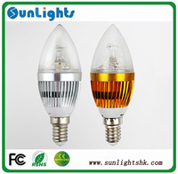CE&Rohs E14/E12/E27 base fitting Dimmable 3x3w (9w) 4x3w (12w) 3w AC85-265V warm / cold white LED candle light lamp