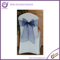 BS008 wholesale 50pcs new  sheer organza chair sash bow wedding party banquet decoration navy decoration party