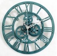 Free shipping big wall clock, antique clock, wall clock, unique clock, fashion clock, big gear clock 33cm