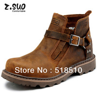 Free shipping 2013 Z.suo Fashion men genuine Leather boots trend ankle boots lovers martin boots outdoor shoes buckle 36-44