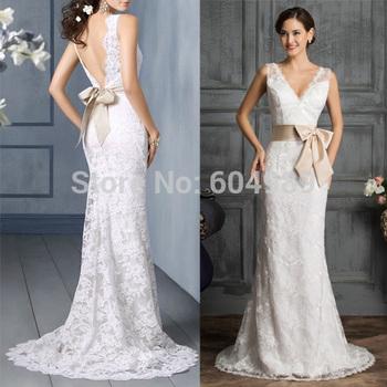 2015 грейс карин сексуальная спинки белый / слоновая кость русалка кружева свадебное платье Большой размер длиной до пола глубокий V шея атласная свадебное платье 3850