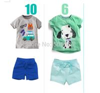 Kids Apparels 2014 New Summer Short Clothing Sets Baby Boys Top+Short  Cartoon Set