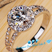 1 carat round brilliant cut luxury quality synthetic diamond engagement rings,sophisticated design wide band halo rings,EMS