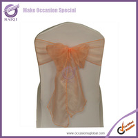 Free shipping 3518 jolie peach 50pcs new sparkle organza chair sashes wedding party banquet decoration