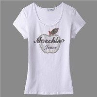 hot 2014 New arrival fashion women short sleeve Rivet paste diamonds Apple T-shirt cotton Tshirt for women NV02