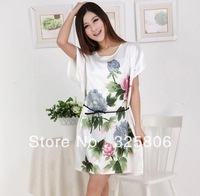 Free shipping Spring and autumn sleepwear female 100% silk short-sleeve flower design summer women's casual lounge,6 colors