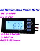 FreeShipping DC LCD Digital Voltage Current Meter multifunction power meter monitor watt energy KWh meter time Voltmeter Ammeter