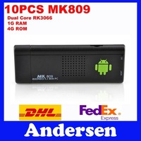 Dual core Android Mini PC MK809 RK3066 Cortex-A9 Hot Free Shipping 1.6G Android TV Box Dongle Stick Google TV OS4.1 Media+3D GPU