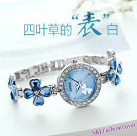 Free shipping four leaf clover watch fashion crystal bracelet watch