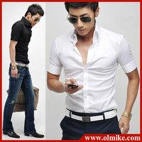 2014 New Summer Men's shirt Fashion Casual Slim Fit Stylish cotton short Sleeve dress shirts Luxury Asia S M L XL XXL C221
