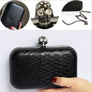 FRESS SHIPPING 2013 New classical serpentine women skull clutch evening bag,cross-body mobilephone women handbag,Purse GB111(China (Mainland))