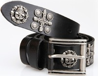 100% Genuine Leather New 2013 Vintage Punk Men's Cowhide Skull Belts Man brand Motorcycle belt hip hop Straps Cinto 125 TBT0044