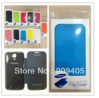 For samsung galaxy s4 i9500 flip cover, official battery flip back cover leather case for galaxy S4 Free shipping 100pcs/lot