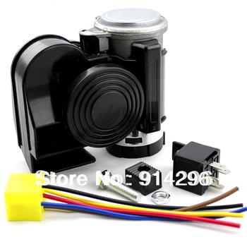 Horn Snail Black Compact Twin Tone Car Air Horn Universal Ultra Sound Car speaker DC12V Air horn electric horn Free Shipping