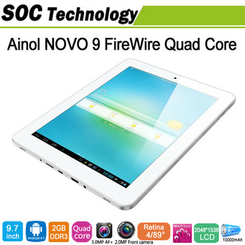 9.7'' Quad Core Tablet PC Ainol Novo 9 Firewire Android 4.1 Allwinner A31 2GB RAM 16GB ROM Retina screen 2048*1536 Ainol Spark