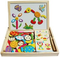 Free Shipping Two sides Magnetic puzzle drawing board Wooden kitchen toys wooden jigsaw puzzle